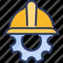 cap, construction, development, engineering, gear icon
