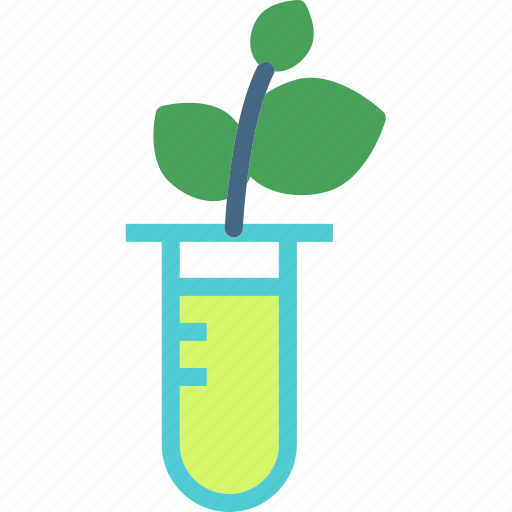 experiment, flask, leafs, plant icon
