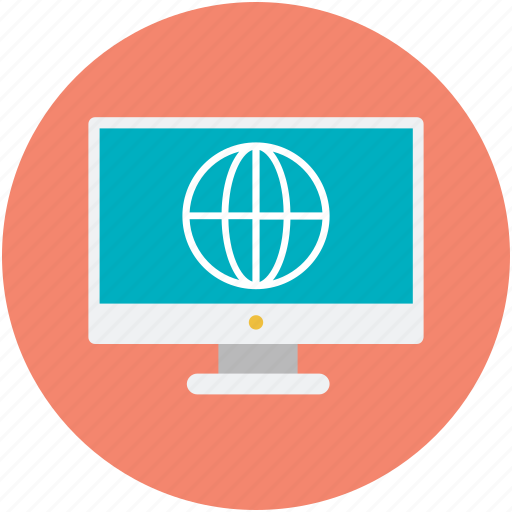 cyberspace, data highway, globe display, internet, monitor screen icon