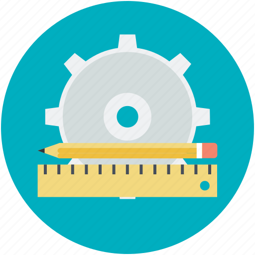 construction planning, engineering, gear, pencil, ruler icon
