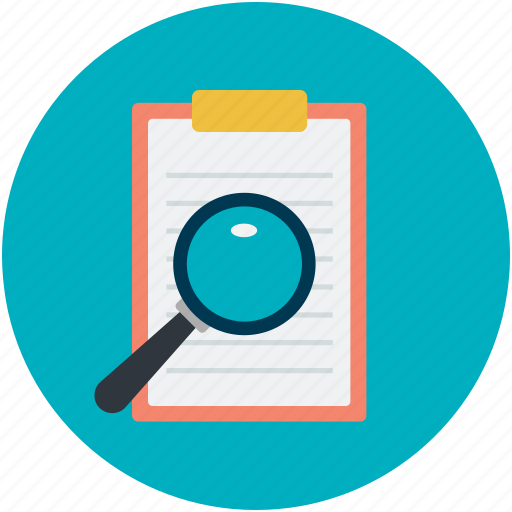 checklist, document, magnifier, magnifying, searching icon