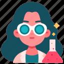 avatar, experiment, chemist, female, education, science, laboratory icon