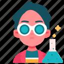 male, experiment, science, laboratory, education, chemist, avatar icon