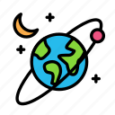 andmoon, earth, science, space icon
