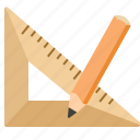 design, pencil, ruler, triangle icon