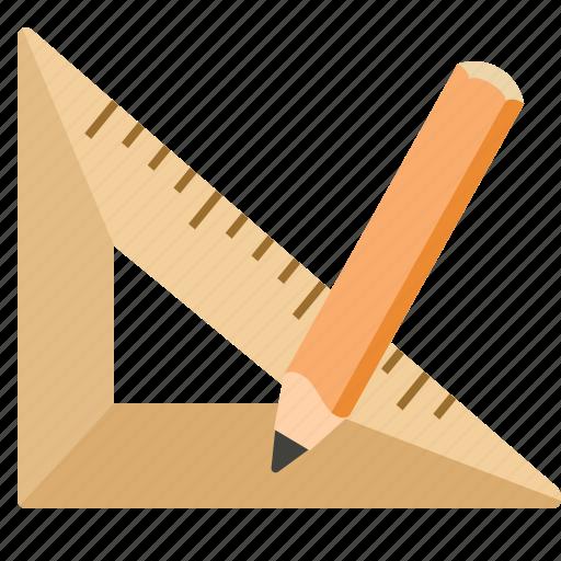 design, pencil, ruler, triangle icon