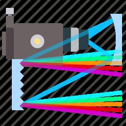 colors, physics, spectrograph, spectrum icon