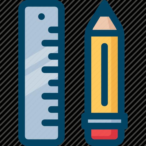 edit, pencil, ruler, school, write icon