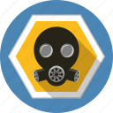 chemical, danger, filter, gas, helmet, mask, warning icon