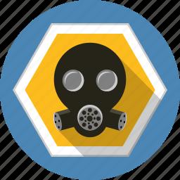 chemical, danger, filter, gas, helmet, mask, warning icon