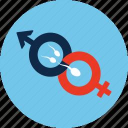 fertilization, gender, insemination, male, sex, sperm, woman icon
