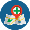 hospital, location, map, marker, navigation, pin, pointer icon