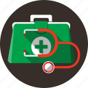 briefcase, doctor, stethoscope, medicine, aid, first