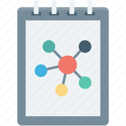 atom, jotter, notepad, science book, science notes icon