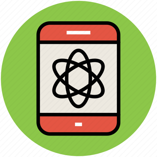 atom, display, infographic element, science, smartphone icon