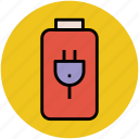 battery, battery charging, battery level, battery status, plug in icon