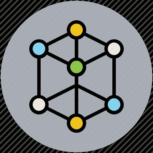 carbon, cell, cube molecule, molecular configuration, nitrogen, oxygen icon