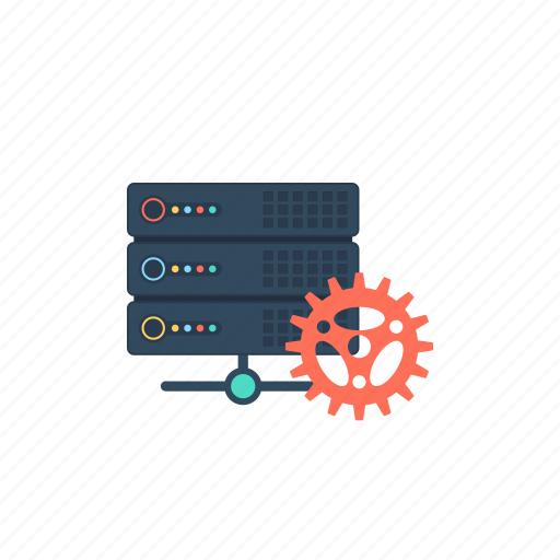 data processing, datacenter, network database, server configuration, server hosting icon