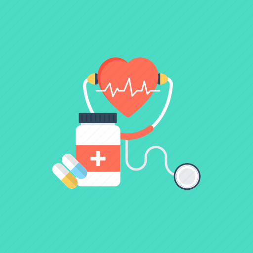 cardiac check up, diagnosis, medication, medicine jar, stethoscope icon