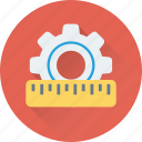 customization, gearwheel, measurement, preferences, ruler icon