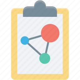 atom, clipboard, jotter, science article, science notes icon
