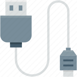 data cable, micro usb, usb cable, usb cord, usb wire icon