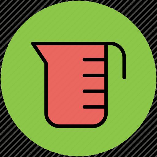 beaker, lab glassware, lab instrument, laboratory, measuring cup, measuring jug icon