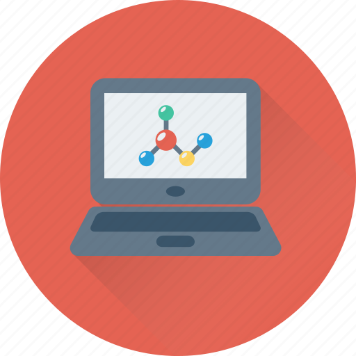 atom, bond, electron, laptop, science icon