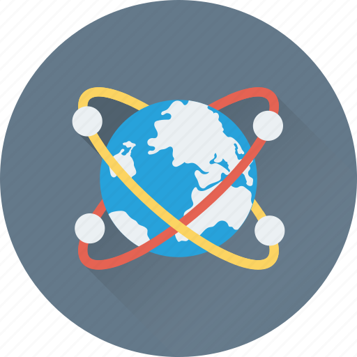globe, orbit, planet, world map icon