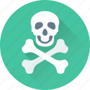 bones, danger, roger, skull, warning icon