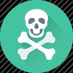 bones, danger, roger, skull, warning icon