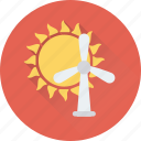 aerogenerator, energy, sun, wind, windmill icon