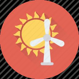 aerogenerator, energy, sun, wind, windmill icon