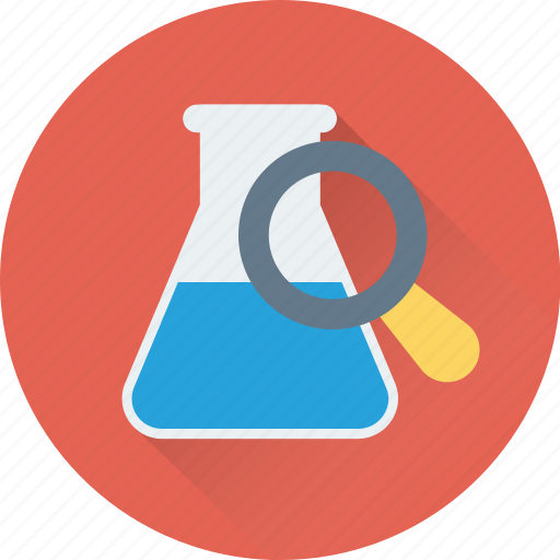 experiments, laboratory, magnifier, research, test icon