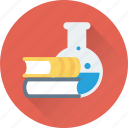 books, chemistry, flask, lab, study icon