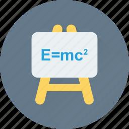 board, einstein formula, emc2, formula, science icon