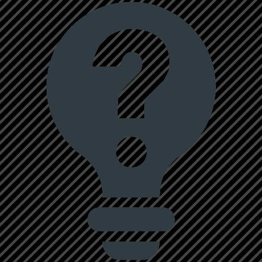 energy, idea, innovation, light bulb, question sign icon