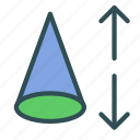 cone, height, mathematics, pyramid icon