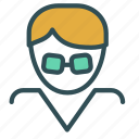 avatar, face, figure, glasses, male, man icon