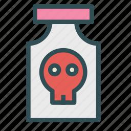 container, danger, jar, poison, skull icon