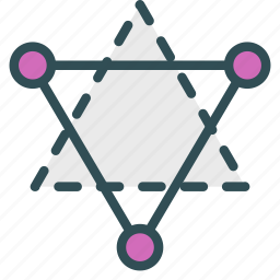 circle, connecton, cristalography, structure, triangle icon