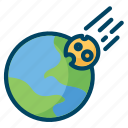 earth, meteor, planet, science, space icon