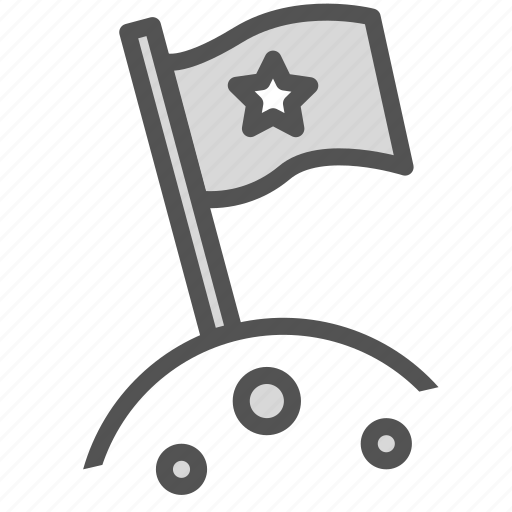 flag, moon, planet, pole, space, star icon