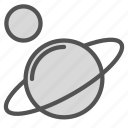 astronomy, planet, satellite, saturn, space icon