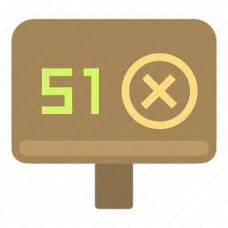 area51, denied, number, pole icon