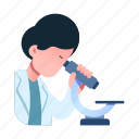 experiment, microscope, professional, researcher, science, scientist, specialist icon