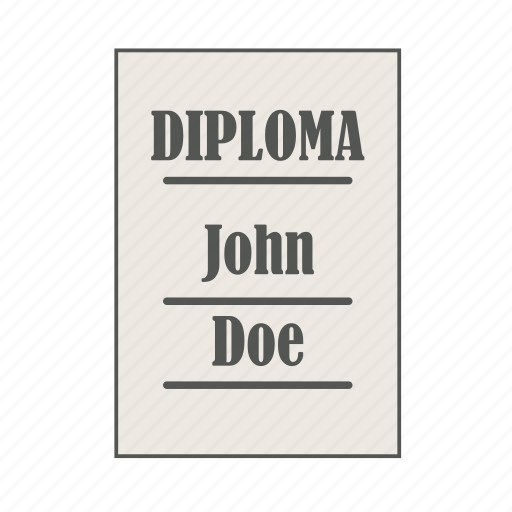 diploma, doe, education, graduation, john, university icon