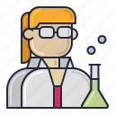 female, scientist, woman icon