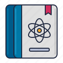 atom, journal, science icon