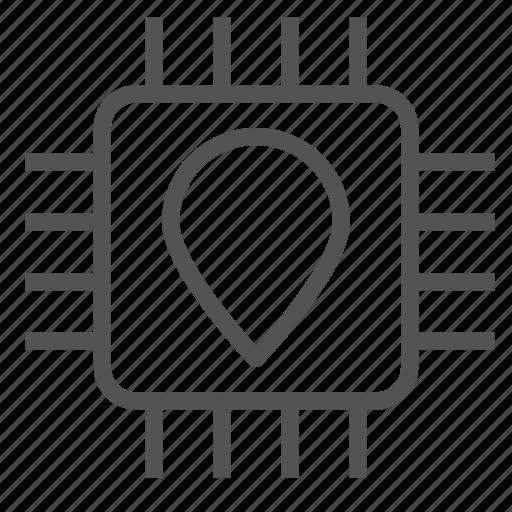 chip, circuit, mark, pin icon